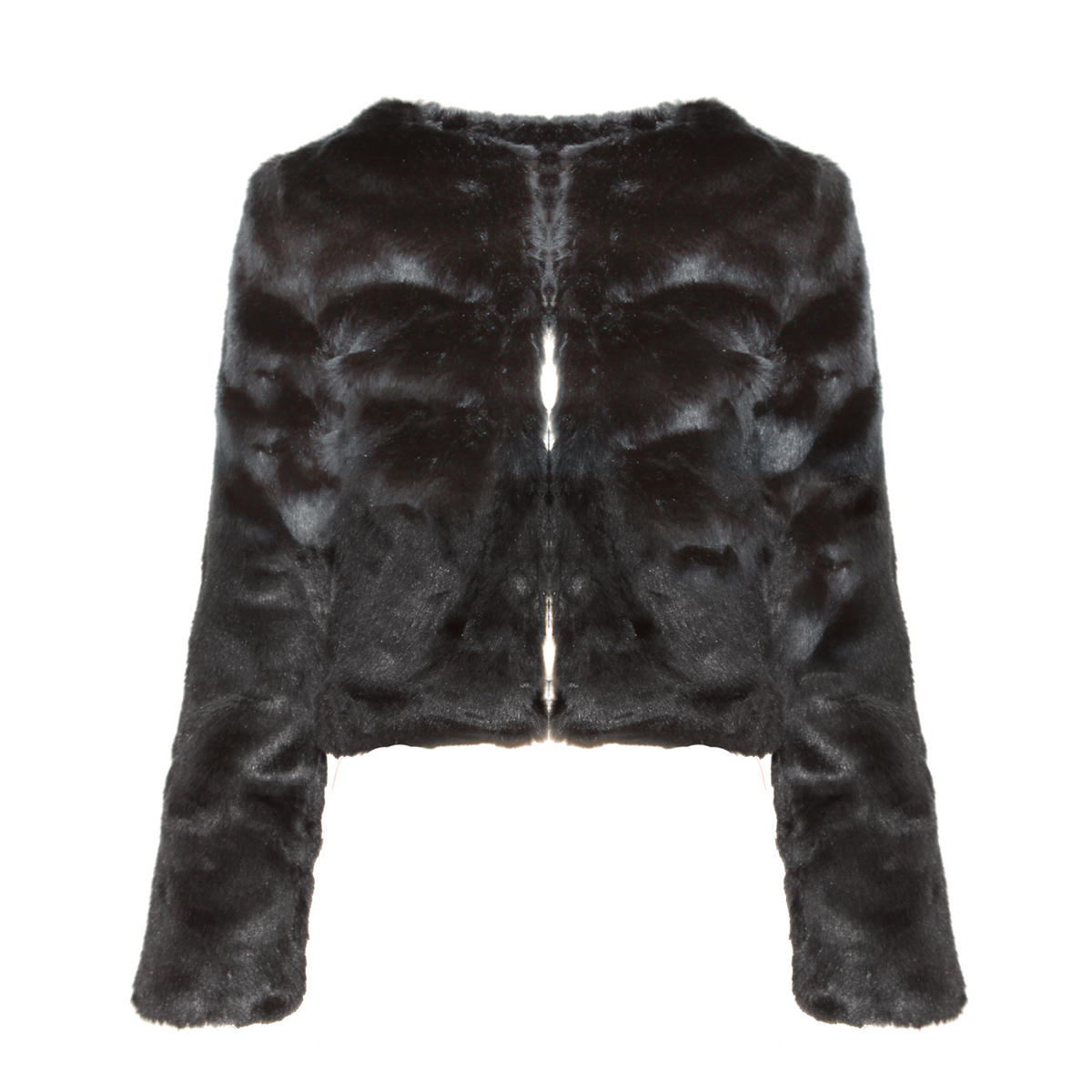 Black Cropped Fur Jacket Preview