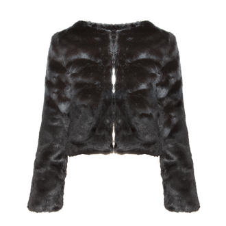 View Item Black Cropped Fur Jacket