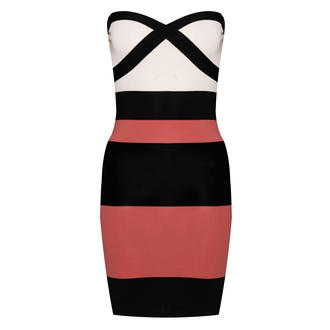 Multi Stripe Bandeau Bodycon Dress