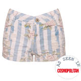 SIZE 10 ONLY Floral Stripe Distressed Short