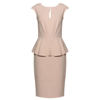 View Item Cream Tailored Peplum Dress