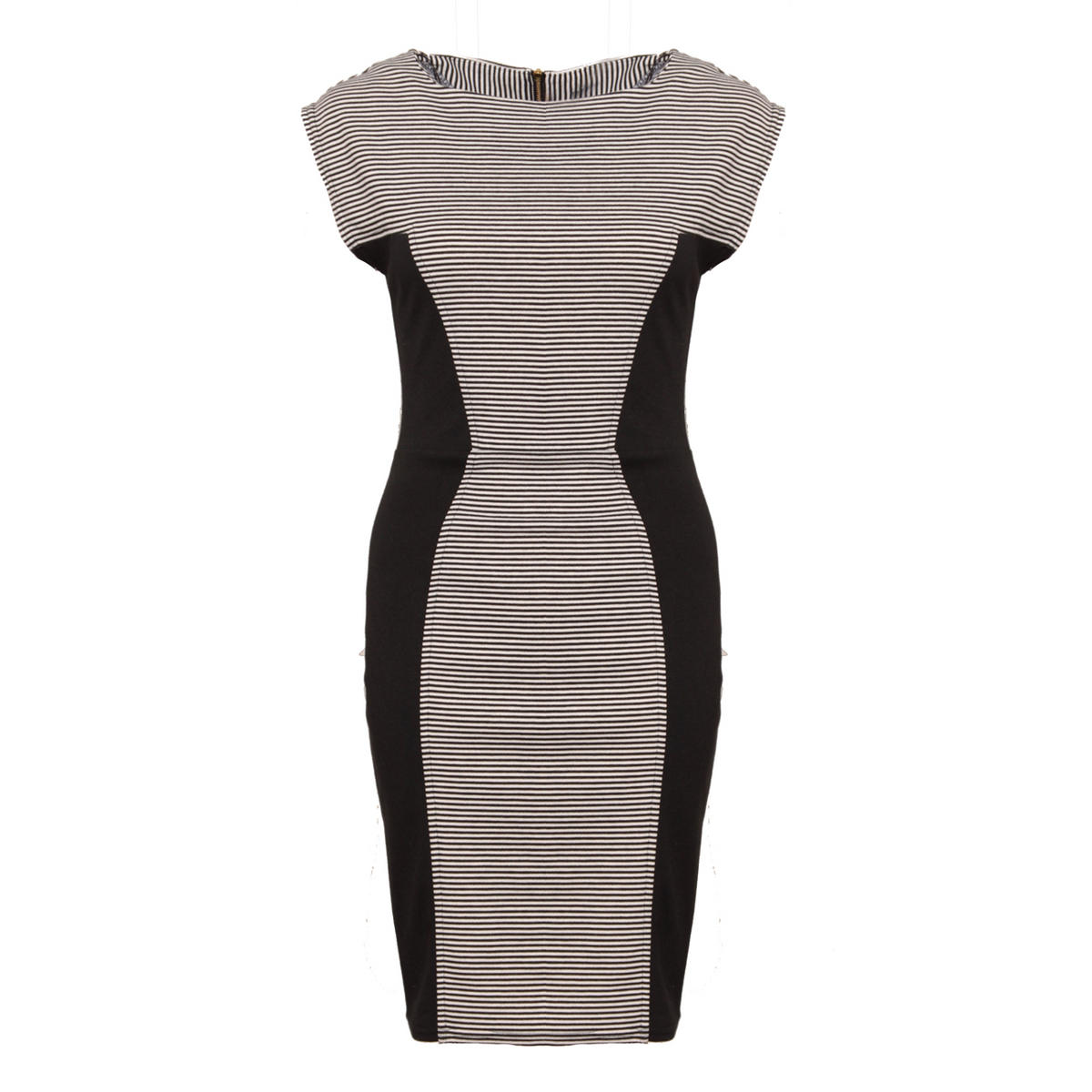Monochrome Stripe Bodycon Dress Preview