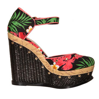 View Item Tropical Print Studded Raffia Wedge Sandal