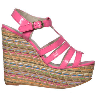 View Item Pink Multi Raffia Wedge Sandal