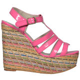 Pink Multi Raffia Wedge Sandal