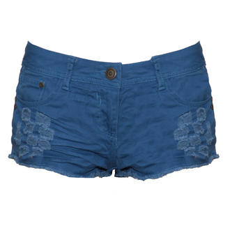 View Item Blue Distressed Cut Off Short