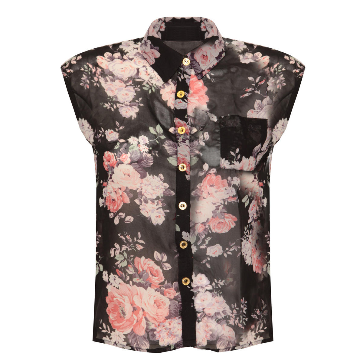 Black Floral Sleeveless Shirt Preview