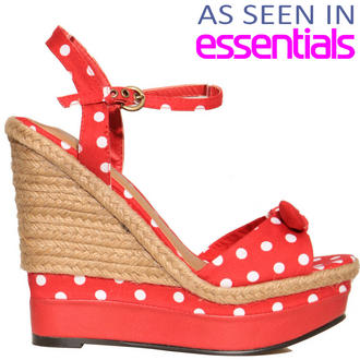 View Item Red Polka Dot Raffia Wedge Sandal