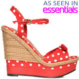 Red Polka Dot Raffia Wedge Sandal