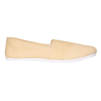 View Item Cream Canvas Flat Shoe