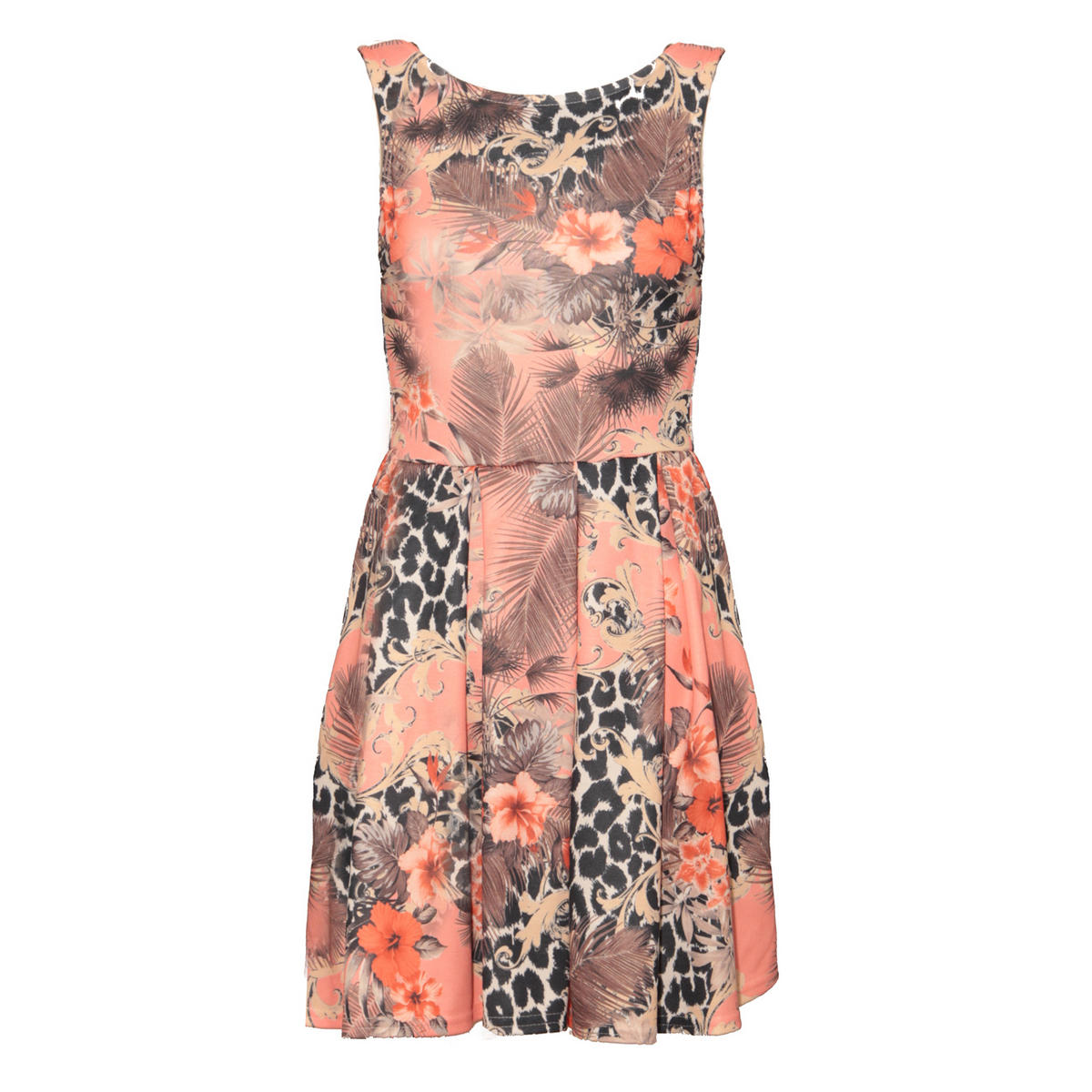 Pink Floral Animal Print Skater Dress Preview