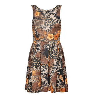 View Item Black Floral Animal Print Skater Dress