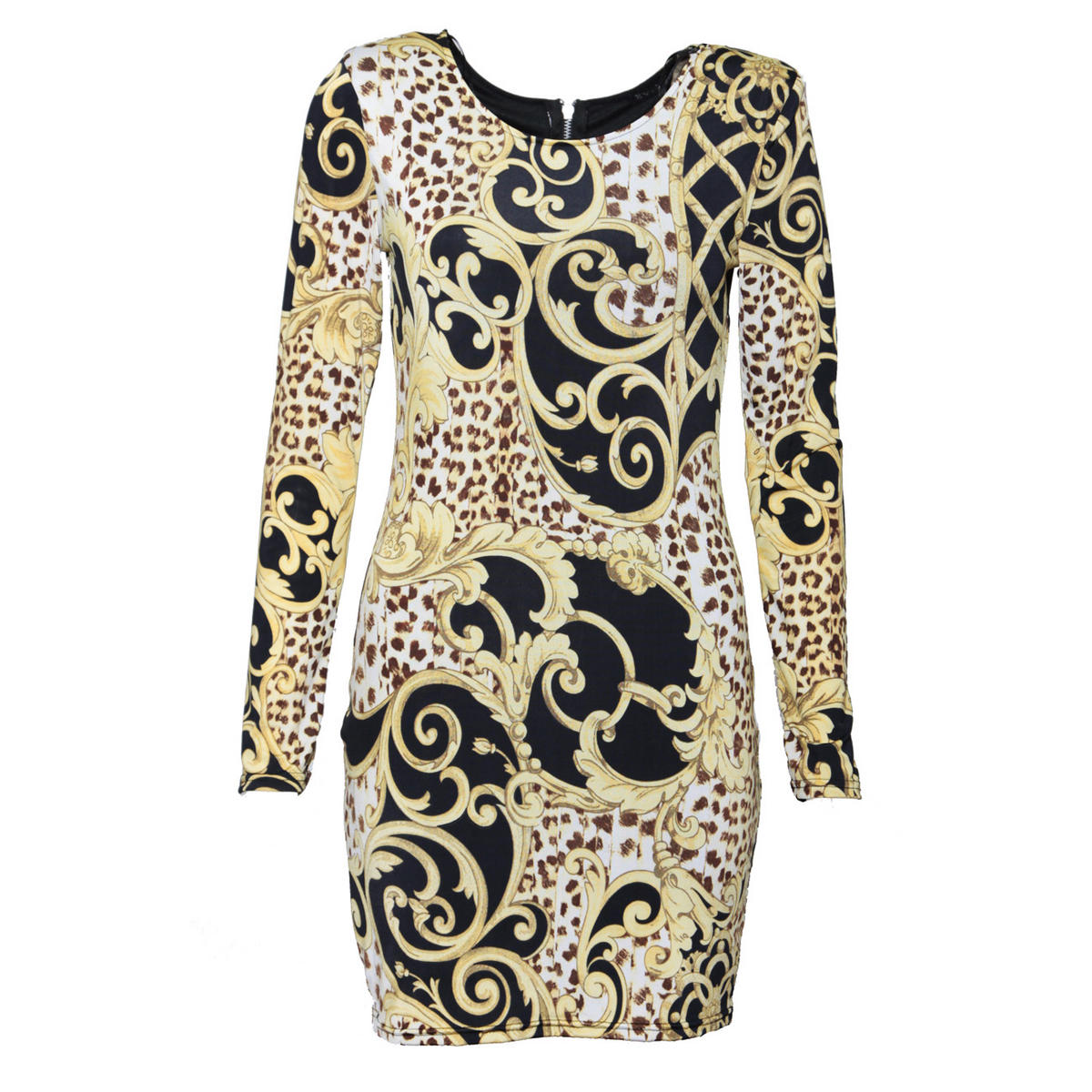 Baroque Print Bodycon Dress Preview