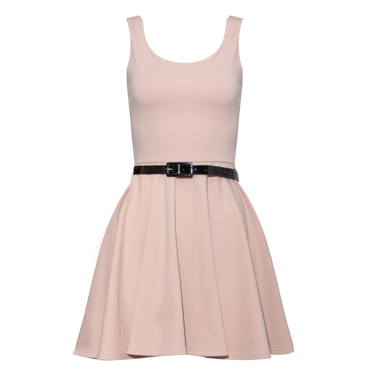 Beige Belted Skater Dress Preview