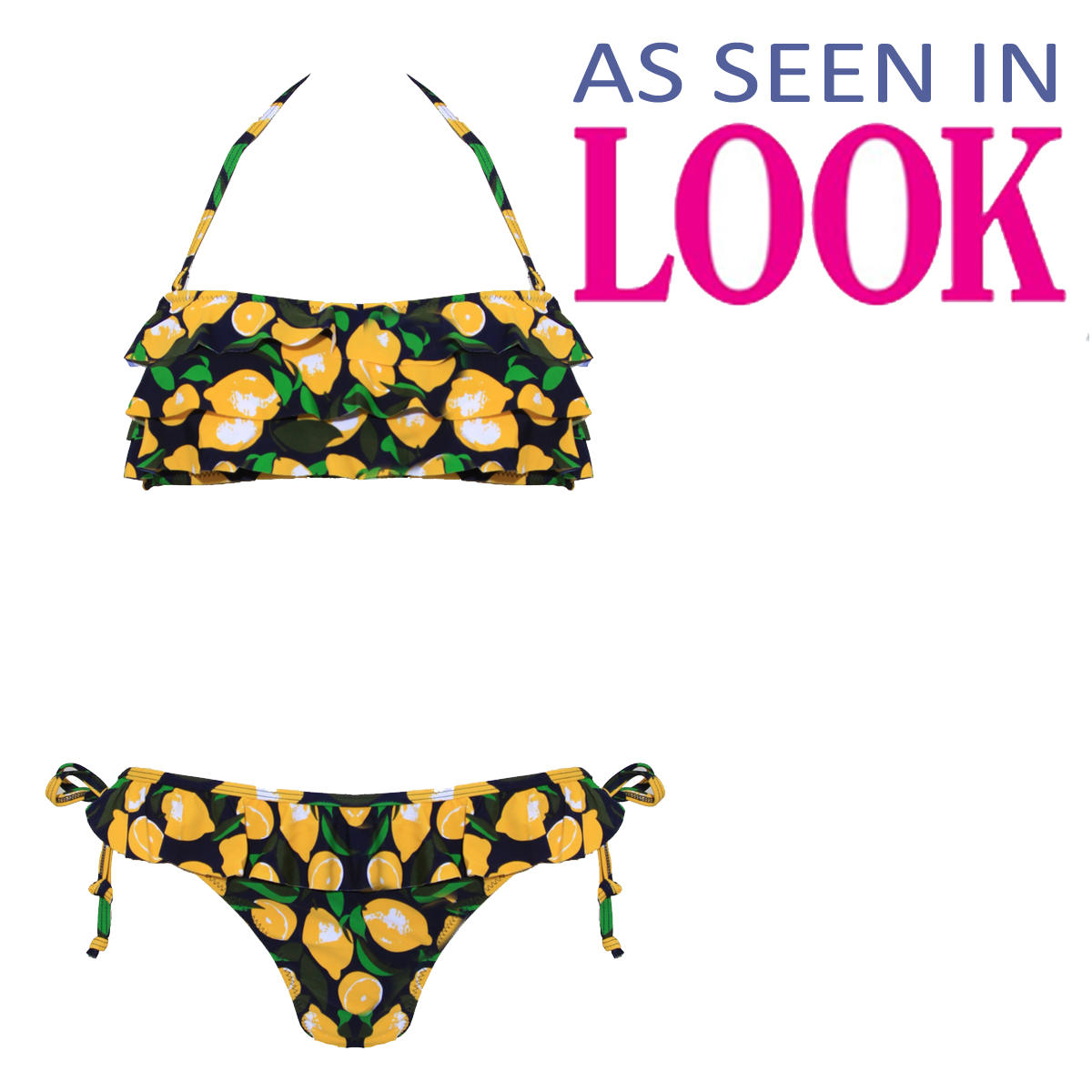 Navy Lemon Print Ruffle Bikini Preview