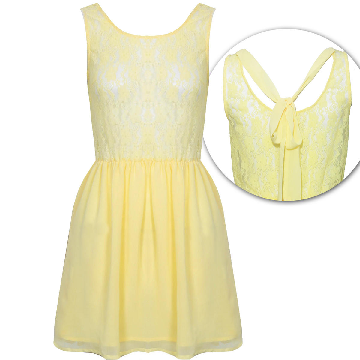 SIZE 12 ONLY Yellow Lace Pleat Dress Preview