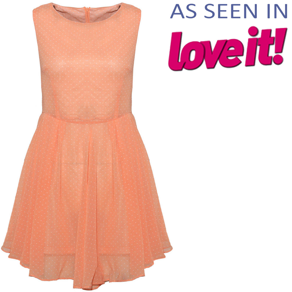SIZE 10 ONLY Orange Polka Dot Chiffon Pleat Dress Preview