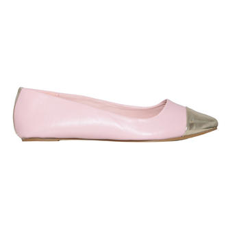 View Item Pastel Metallic Toe Cap Flat Shoe