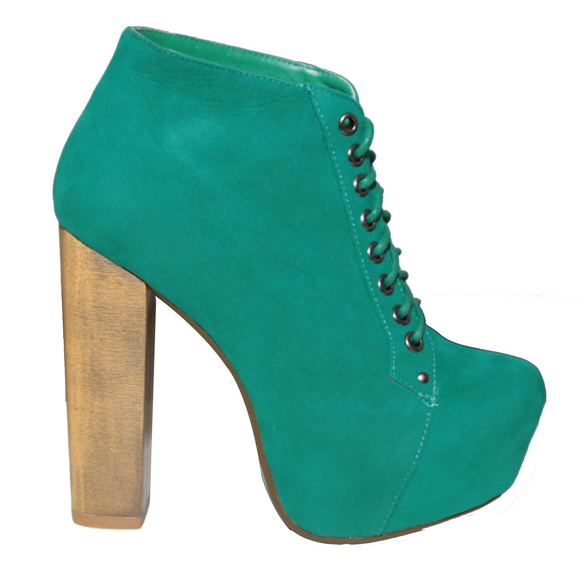 Green Suede Lace Up Ankle Boot  Preview
