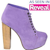 Purple Suede Lace Up Ankle Boot 