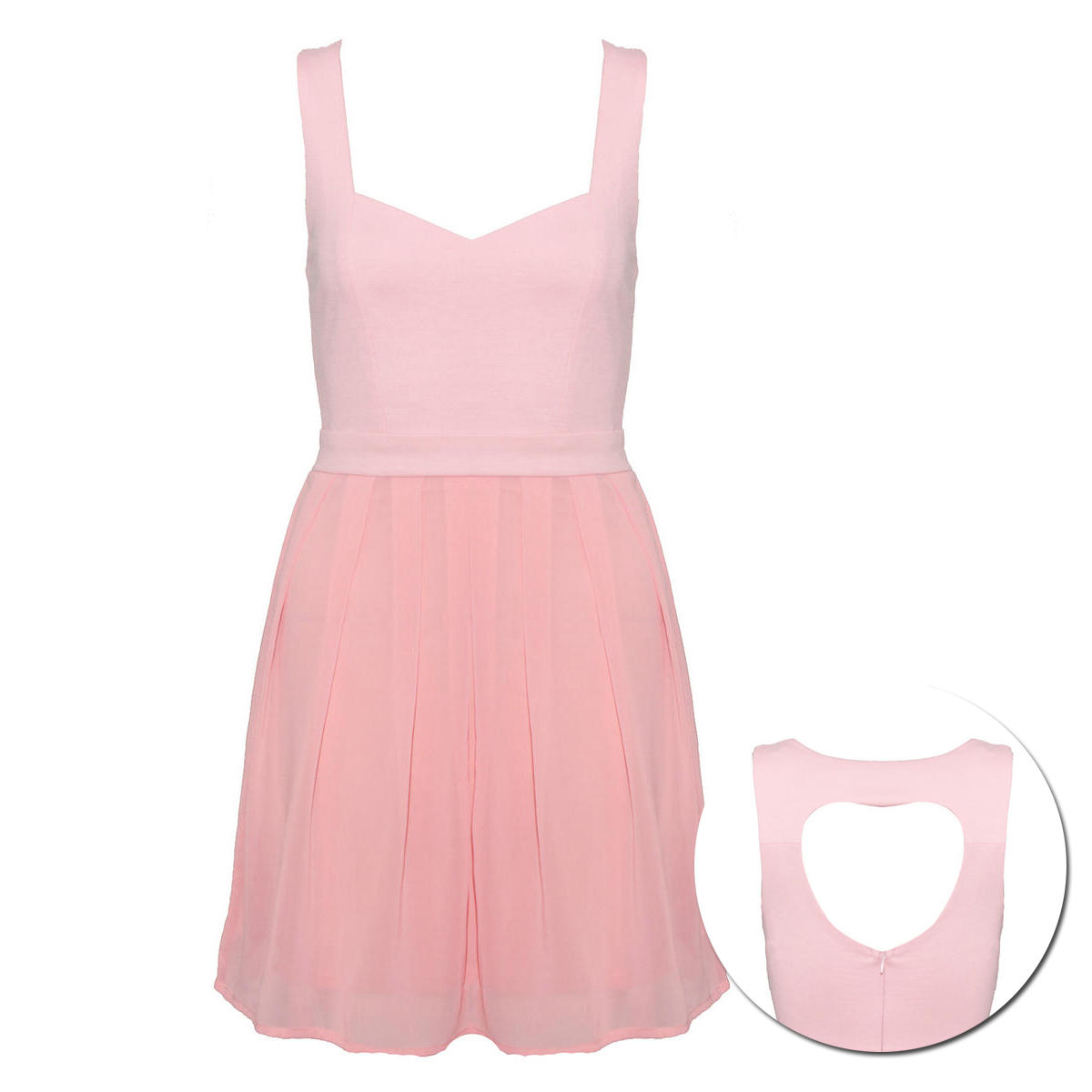 Pink Heart Cut Out Pleat Dress Preview