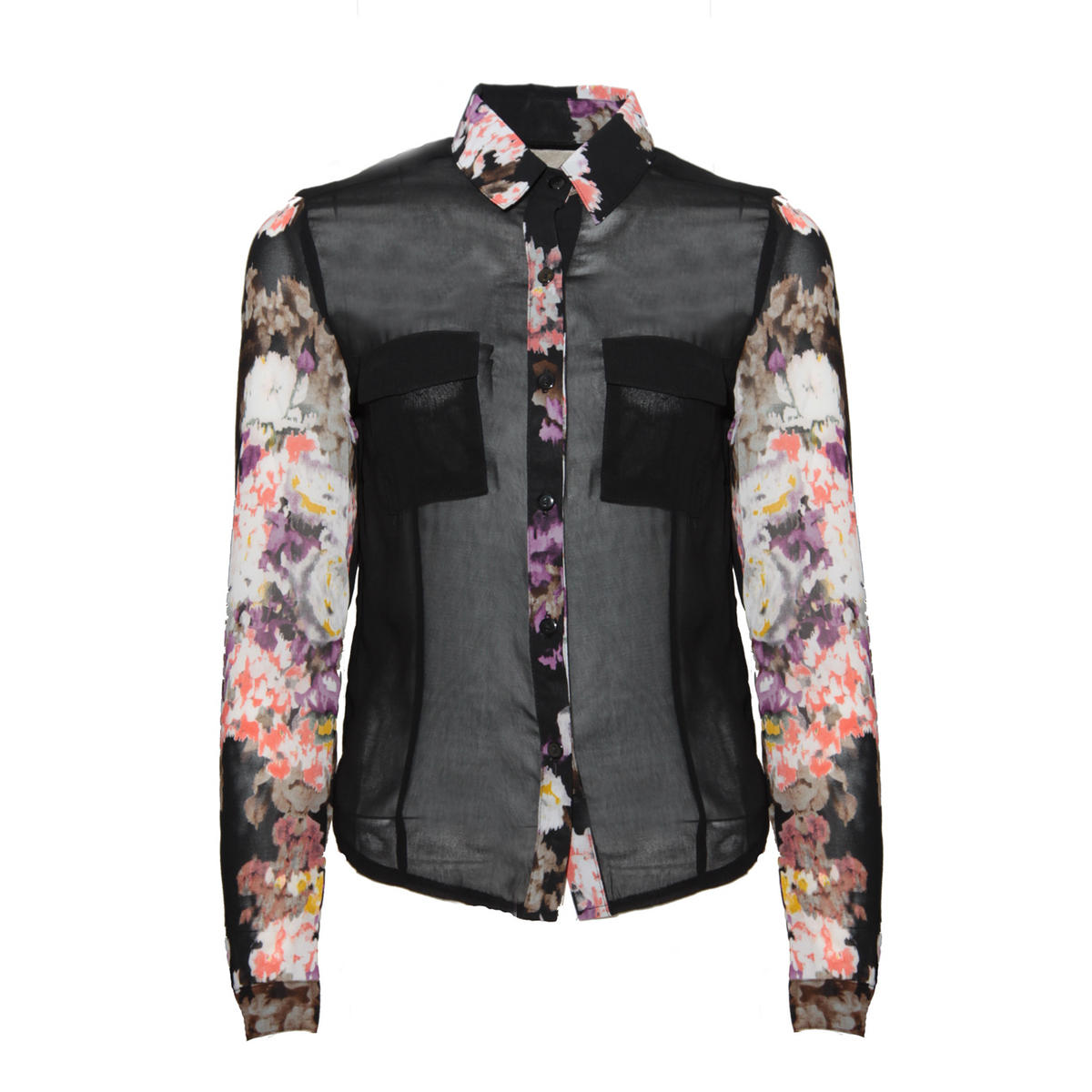 Black Floral Contrast Shirt Preview