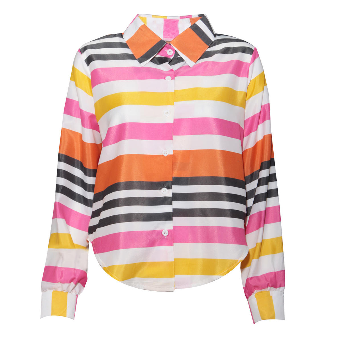 SIZE 12/14 ONLY Bright Stripe Dip Hem Shirt Preview