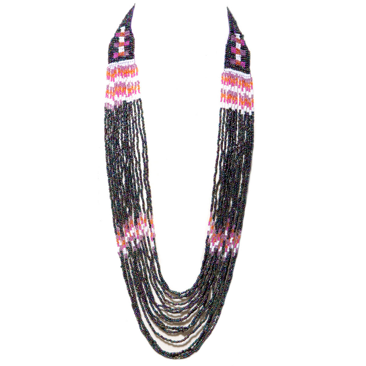 Multi Bead Tribal Necklace In Black Preview