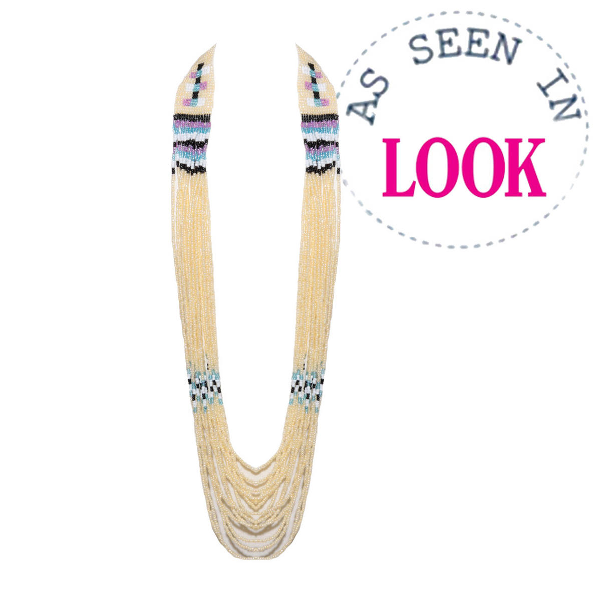 Multi Bead Tribal Necklace In Cream Preview