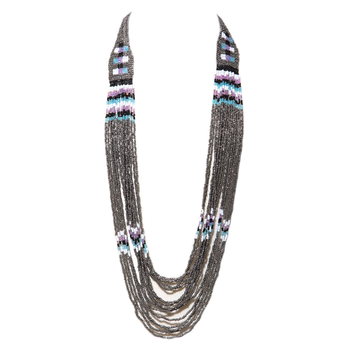 Multi Bead Tribal Necklace In Grey Preview