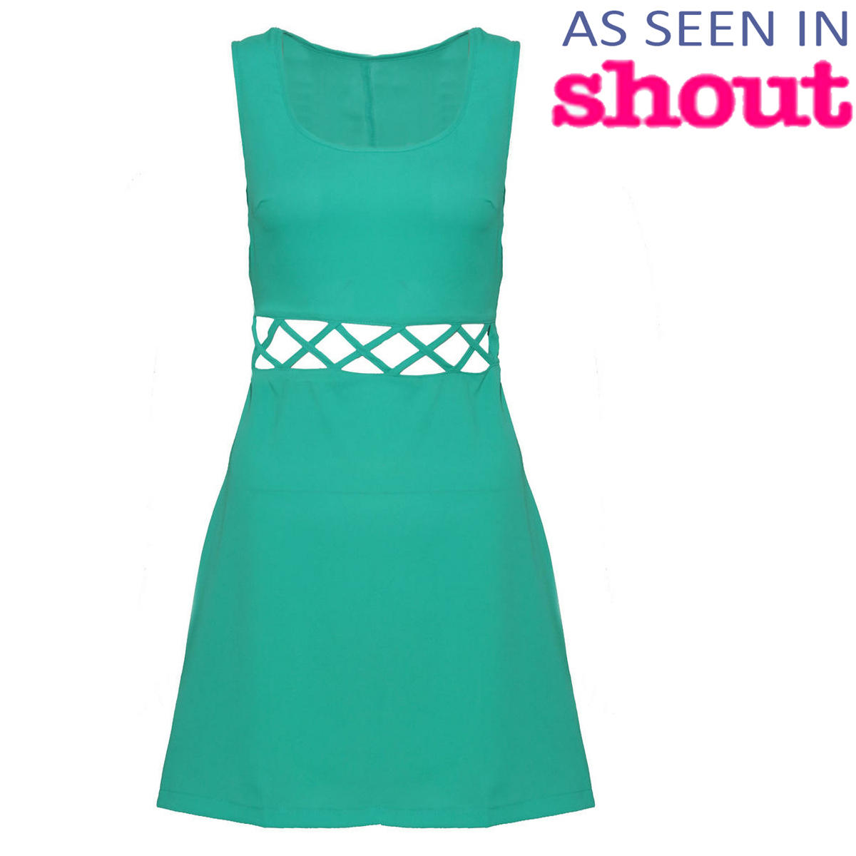 SIZE 10 ONLY Green Cut Out Dress Preview