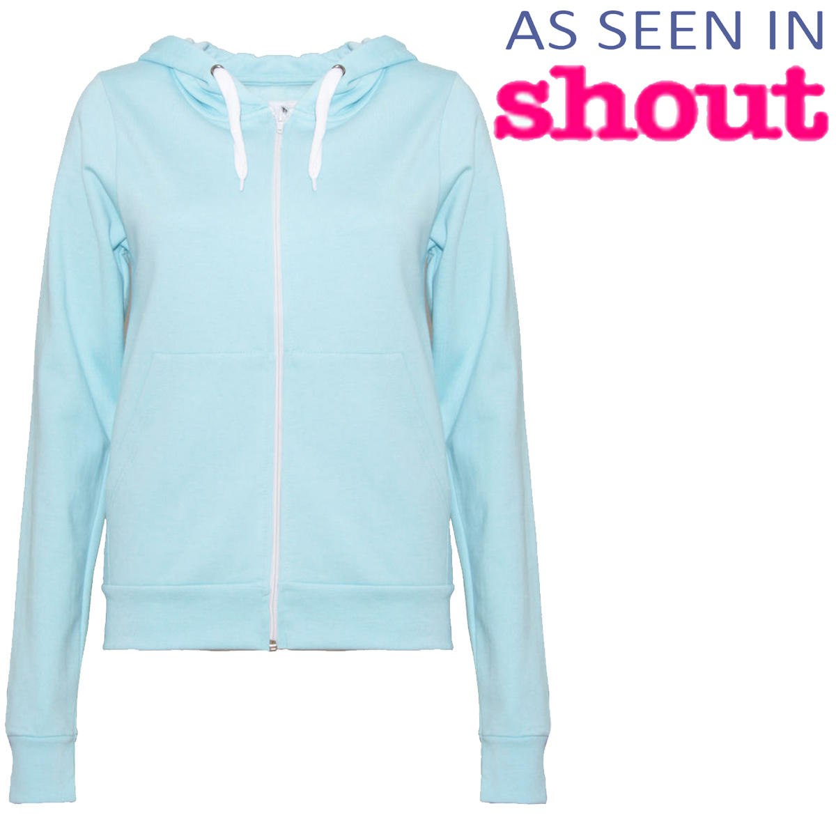 Pastel Blue Zip Through Hoodie Preview