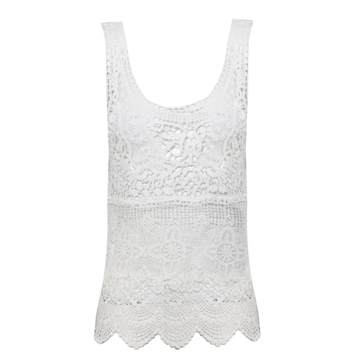 White Crochet Lace Vest Top Preview