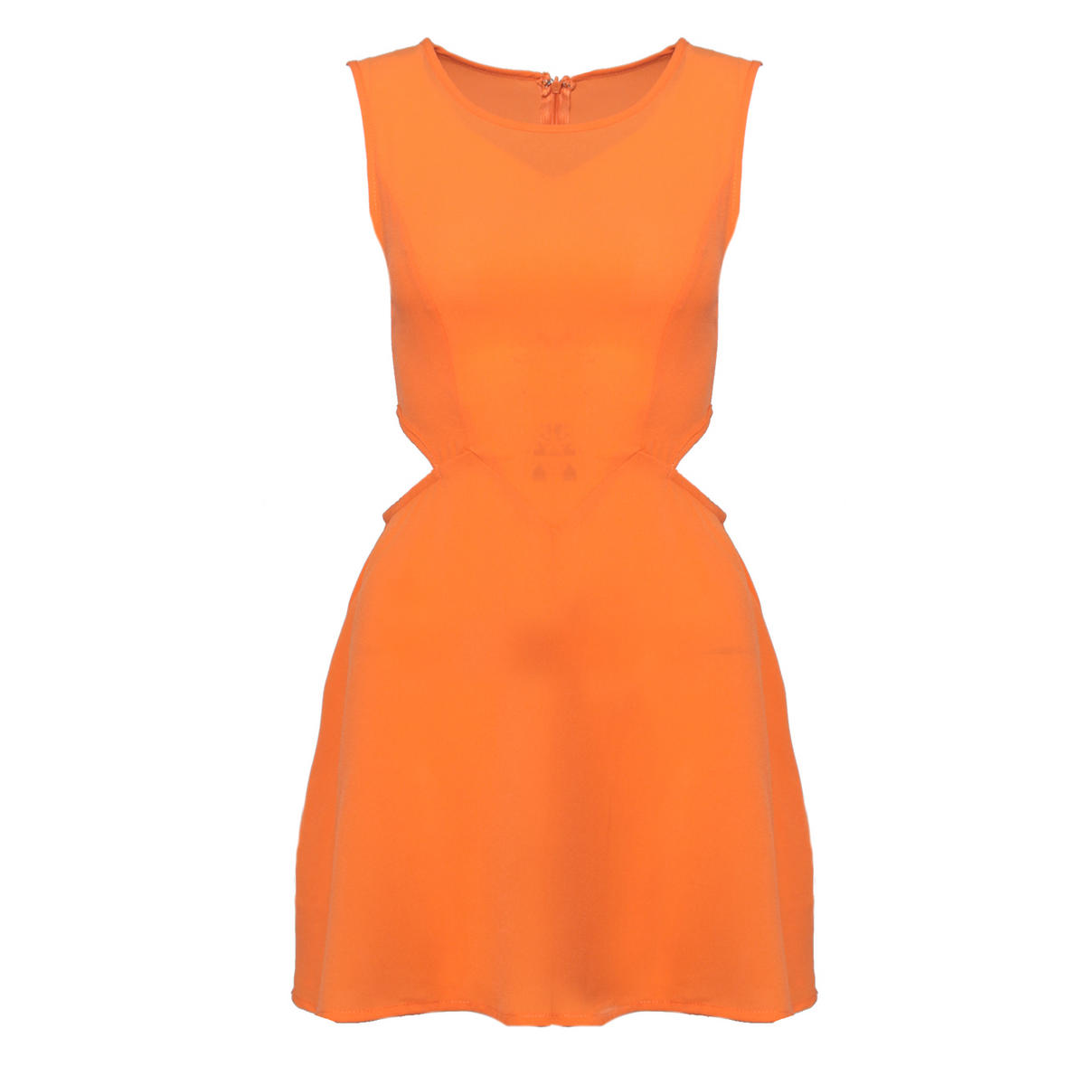 Orange Cut Out Pleat Dress  Preview