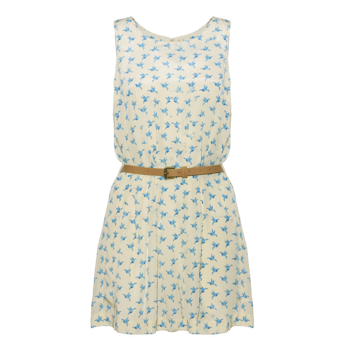 Cream Bird Print Belted Playsuit Preview