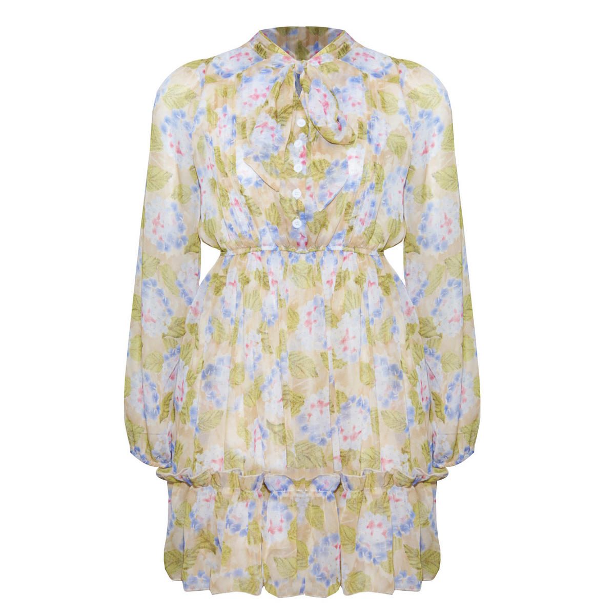 Pastel Floral Pussybow Blouse Dress Preview