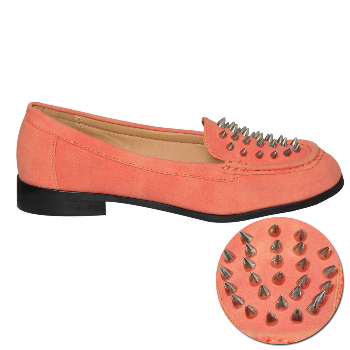 Coral Spike Studded Loafer Shoe Preview