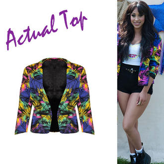 View Item SIZE 10 ONLY Bright Tropical Print Blazer