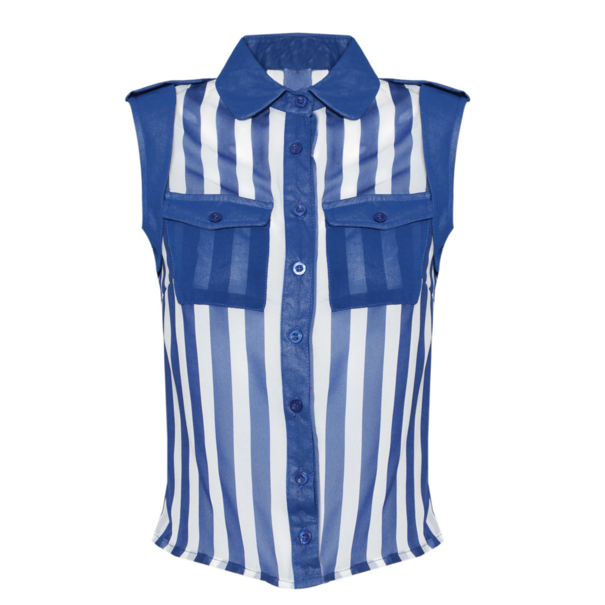 SIZE 14 ONLY Blue And White Striped Sleeveless Shirt Preview