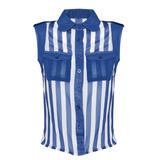 SIZE 14 ONLY Blue And White Striped Sleeveless Shirt