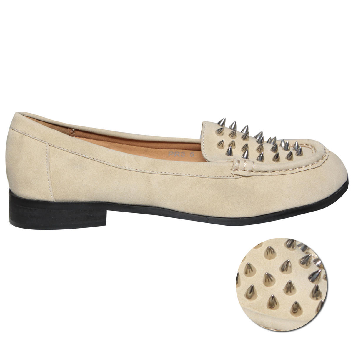 Cream Spike Studded Loafer Shoe Preview