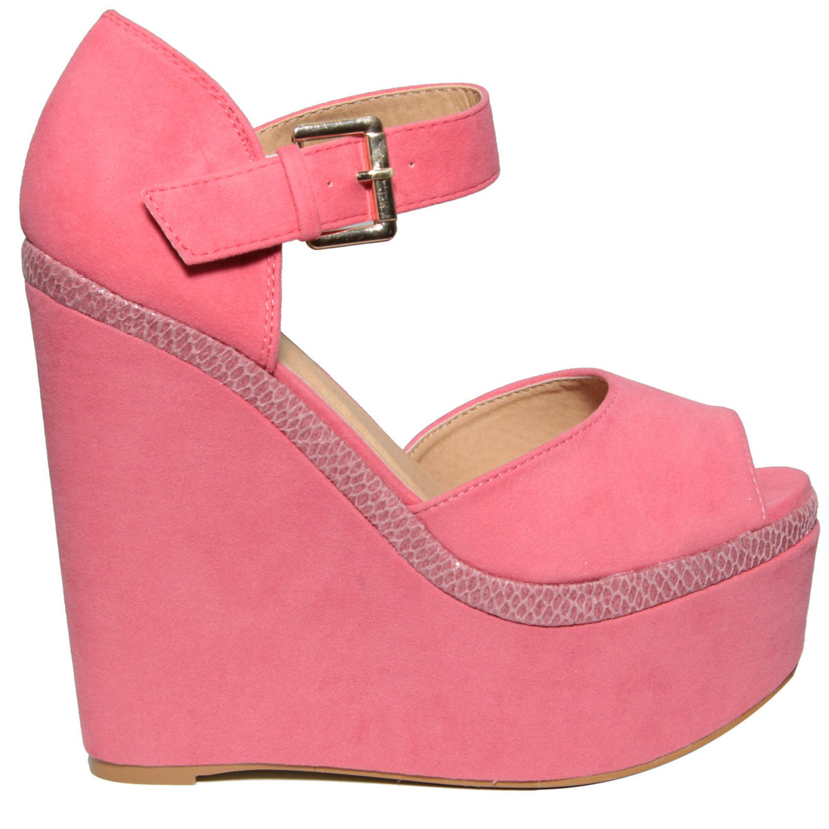 Pink Snakeskin Buckle Wedge Shoe Preview