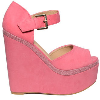 View Item Pink Snakeskin Buckle Wedge Shoe