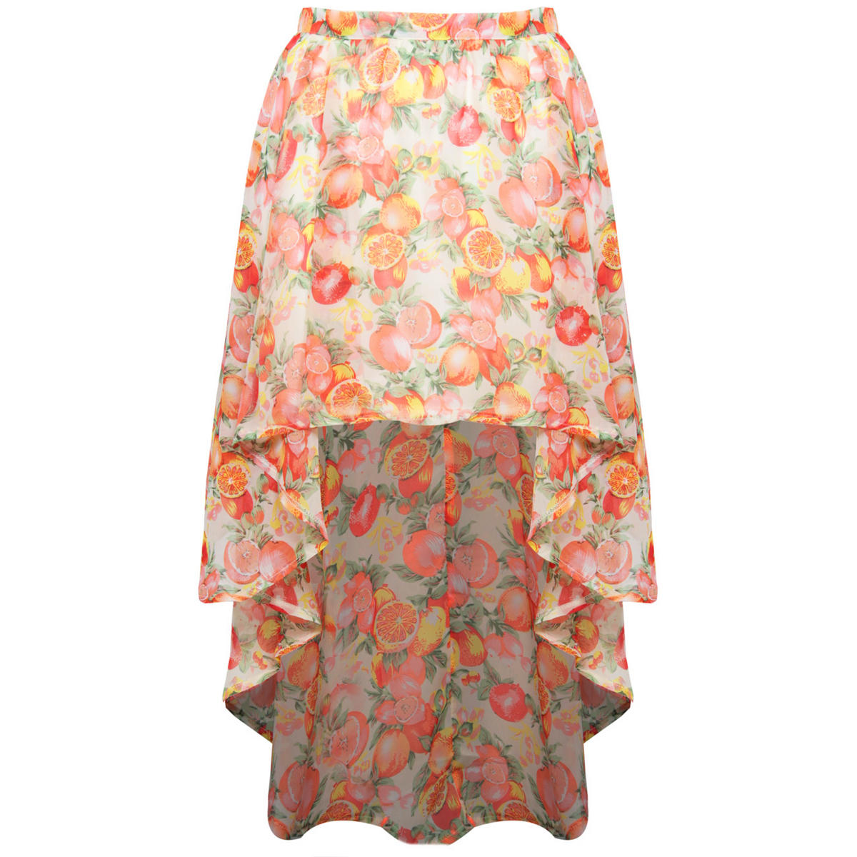 Fruit Print Dip Hem Skirt Preview
