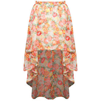 View Item SIZE 12 ONLY Fruit Print Dip Hem Skirt