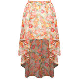 SIZE 12 ONLY Fruit Print Dip Hem Skirt