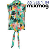 Tropical Print Sleeveless Tie Shirt
