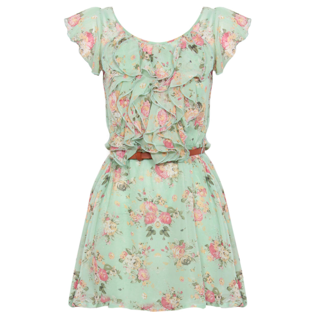 Mint Floral Ruffle Dress Preview