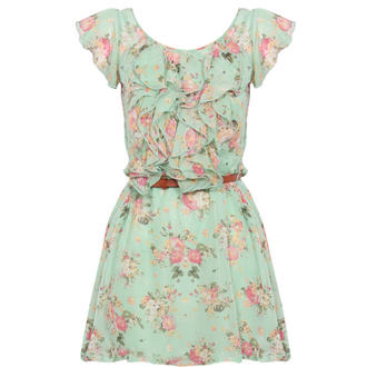 View Item Mint Floral Ruffle Dress