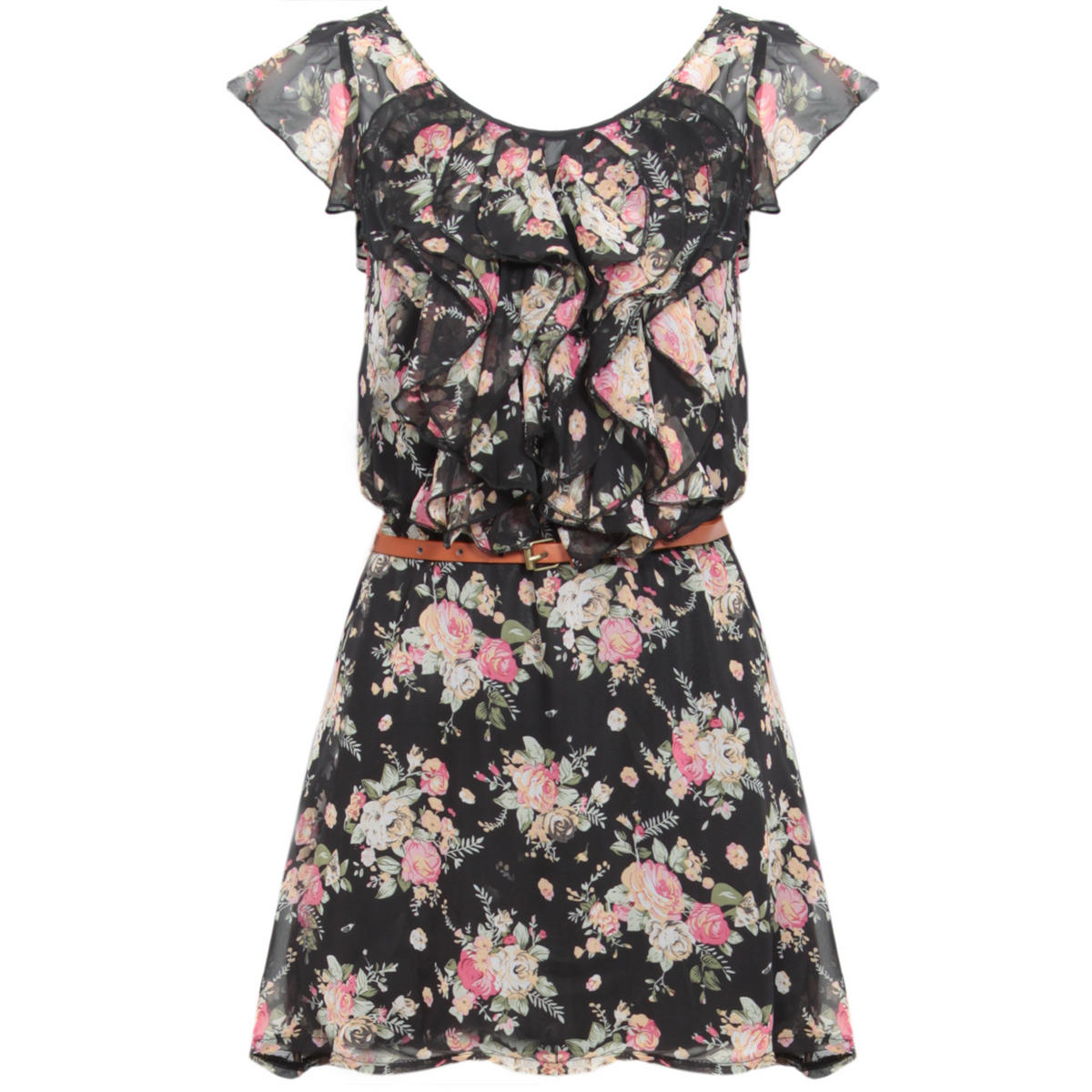 Black Floral Ruffle Dress Preview